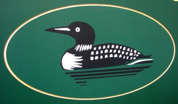 Detail of a painting on a sign, a loon