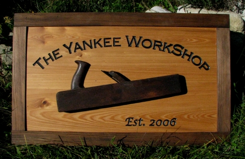 Custom wood sign with authentic vintage tool